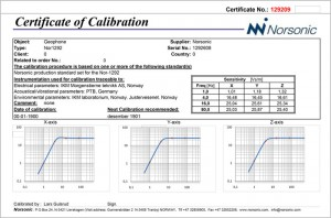 Nor1292 Certificate of Calibration