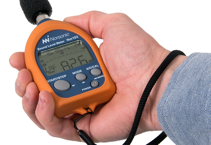 Nor103 Sound Level Meter with orange cover